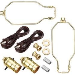 Make A Lamp Kit Bright Brass Finish US Plug 2Set for DIY Lamp Design or Repair