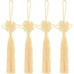 Unique BargainsPolyester Door Wall Hanging Decor Hand Knitted Chinese Knot Light Yellow 4pcs found on Bargain Bro India from Newegg Canada for $9.16