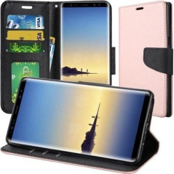 Trendy Wallet Flip Credit Card Case With Stand - Rose Gold