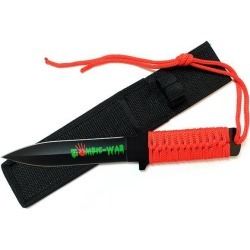 11' Zombie War Red Cord Wrapped Handle Hunting Knife with Sheath