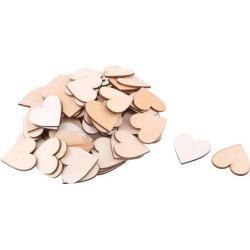 Wooden Love Heart Shaped DIY Accessories Embellishment Beige 40 x 37mm 75 Pcs