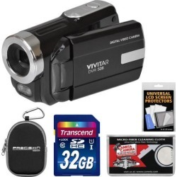 Vivitar DVR-508 HD Digital Video Camera Camcorder (Black) with 32GB Card + Case + Kit