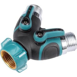 Garden Water Hose Splitter 2 Way Y Connector, Bolted and Threaded, Easy Grip