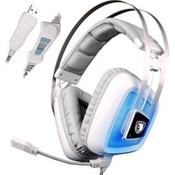A8 7.1 Surround Sound Stereo Over the Ear PC USB Gaming Headphones with Microphone Vibration Noise Canceling LED Light