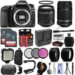 Canon EOS 80D DSLR Digital Camera with EF-S 18-55mm IS STM + 55-250mm IS II Lens + 128GB Memory + 2 Extra Extended Batteries + Wide Angle +.