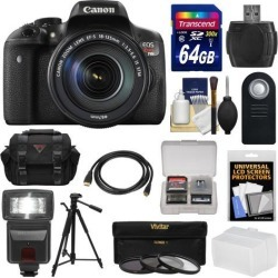 Canon EOS Rebel T6i Wi-Fi Digital SLR Camera & EF-S 18-135mm IS STM Lens with 64GB Card + Case + Tripod + Flash + 3 Filters + HDMI Cable + Kit