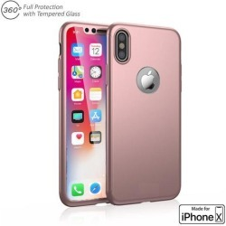 Indigi 360° Full Body Protective Case (Rose Gold) + Tempered Glass For Apple iPhone X