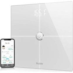 Rollifit Premium Smart Scale - Body Fat Scale With Fitness APP & Body Composition Monitor, Works w/ Android/iPhone 8/iPhone X, White