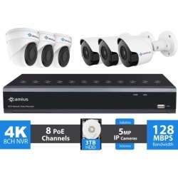 Camius Ultra HD 4K 8 Channel NVR PoE Security IP Camera System with Hard Drive 3TB, 6pcs 5MP Wired Video Surveillance IP Cameras 2592 x 1944p (3 found on Bargain Bro India from Newegg Business for $659.00