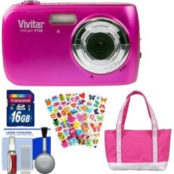 Vivitar ViviCam F126 Digital Camera (Pink) with 16GB Card + Bag + Stickers + Kit