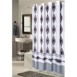 Carnation Home Fashions Extra Wide, EZ-ON Harlequin Polyester Shower Curtain
