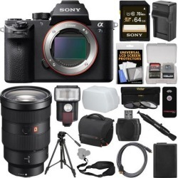 Sony Alpha A7S II 4K Wi-Fi Digital Camera Body with FE 24-70mm f/2.8 GM Lens + 64GB Card + Case + Flash + Battery & Charger + Tripod + Kit