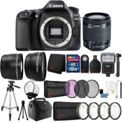 Canon EOS 80D 24.2MP DSLR Camera w/ 18-55mm Lens and 32GB Accessory Bundle