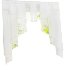 Stitching Pleated Roman Curtain Tulle for Balcony Window White 120Wx145H