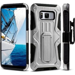 Shockproof Rugged Armor Hybrid Hard Full-Body Case Cover Stand Belt Clip Holster Black/ Silver for Samsung Galaxy S8 Plus