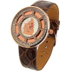 Gold-tone Amber Color Faux Leather Quartz Wrist Watch