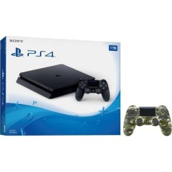 Playstation 4 Slim 1TB Jet Black Gaming Console Bundle With an Extra Green Camouflage DualShock 4 Wireless Controller
