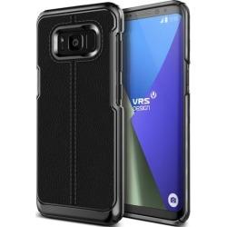 VRS Design [Simpli Mod] Leather Back Protective Case for Galaxy S8 Plus - Black