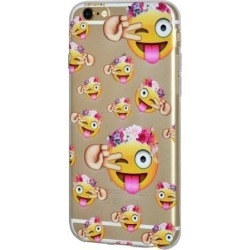 iPhone 6 Plus Case, Emoji Clear Desgin Printed Pattern Soft Skin Fit Clear Case for iPhone 6s Plus - Face With Stuck Out Tongue with Winking Eye