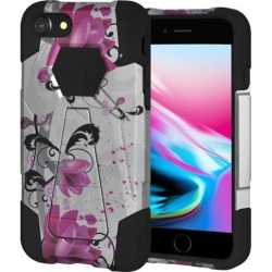 Amzer Dual Layer Designer Hybrid Case with Kickstand - Purple Lily for iPhone 8