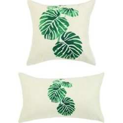 Pack of 2,Green Leaves Throw Pillow Cover, Pattern Cushion Cover Cotton Plant Pillow Case Square Pillow Protectors Home Decorative(12 x 20 Inch/30 x.