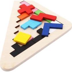 Tetris Wooden Tangram Brain Jigsaw Puzzles Kids Educational Toys Children Magination Intellectual Games Geometry Cognitive Toys