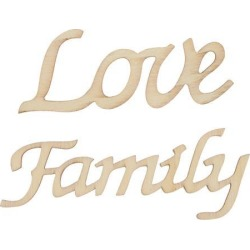 Love & Family Wooden Craft Wooden Pieces Card Making DIY Art Home Wall Decor found on Bargain Bro India from Newegg Canada for $6.56