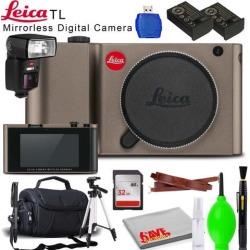Leica TL Mirrorless Digital Camera (Titanium) with 32GB SDHC Memory Card, USB Card Reader, Extra Battery, Carrying Case, Tripod, Monopod, Leica SF64