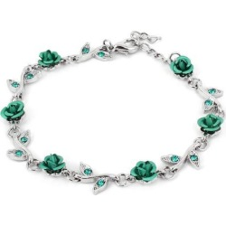 Unique Bargains Lady Lobster Hook Rose Shape Decor Adjustable Chain Bracelet Silver Tone Green found on Bargain Bro India from Newegg Canada for $8.14