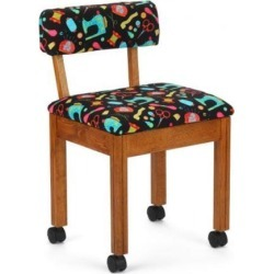 Arrow Sewing Cabinet Black Sewing Notions Chair with Gingerbread Scallops - Oak Finish