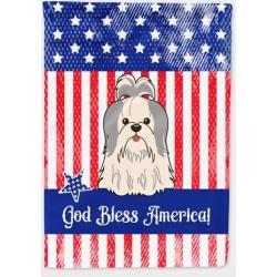 Patriotic USA Shih Tzu Silver White Flag Garden Size BB3080GF