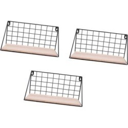 Pack 3 Metal & Wooden Wall Grid Hanging Shelf Furnishing Storage Rack Holder
