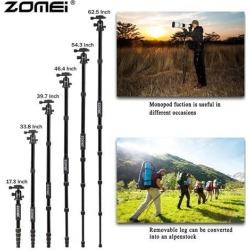 Zomei Q666 Professional Camera Tripod Lightweight Portable Travel Aluminum Monopod With 360 Degree Ball Head For DSLR Camera Black