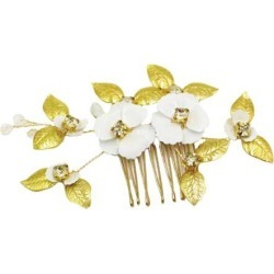 Bridal Wedding Rhinestones Slide Hair Comb Gold Leaves Hairpin Hair Jewelry