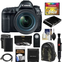 Canon EOS 5D Mark IV 4K Wi-Fi Digital SLR Camera & EF 24-70mm f/4L IS USM Lens with 64GB CF Card + Battery & Charger + Backpack + 3 Filters + Kit
