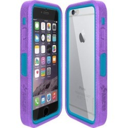 Amzer CRUSTA Rugged Case Purple on Blue Shell Tempered Glass with Holster for iPhone 6 Plus