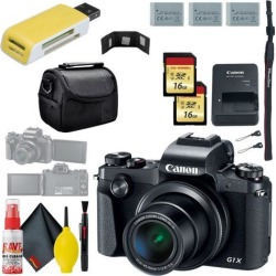 Canon PowerShot G1 X Mark III Digital Camera & 16GB MicroSD x2 & Carrying Case & Battery x2