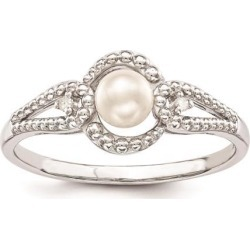 Sterling Silver Pearl & Diamond Ring