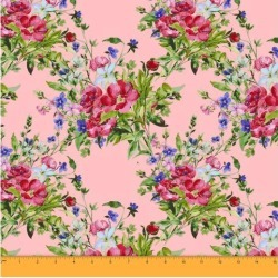 Soimoi Floral Printed Sewing Material 58 Inches Wide Cotton Poplin Fabric Supplies By The Meter-Baby Pink