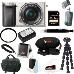 Sony Alpha a6000 24.3 MP Interchangeable Lens Camera with 16-50mm Power Zoom Lens (Silver) + Sony 32GB Accessory Kit
