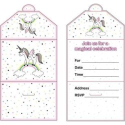 12 Pieces Magical Unicorn Invitation Cards Kids Birthday Party Supplier
