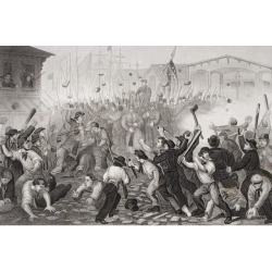 Attack On The Massachusetts 6Th At Baltimore Maryland April 19 1861. Artist William Momberger Poster Print (17 x 11)