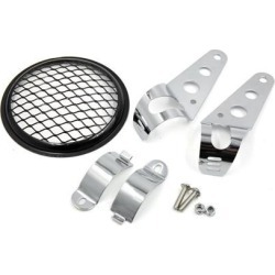 Black Silver Tone Motorcycle Headlight Holder Bracket w 5.6 inch Bevel Grid