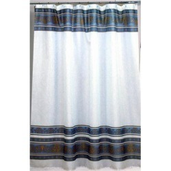 Carnation Home Fashions Fleur Fabric Shower Curtain in Slate