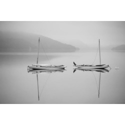 Posterazzi DPI12256013 Two Sailboats Reflected in A Calm Misty Lake - Ontario Canada Poster Print - 19 x 12 in.