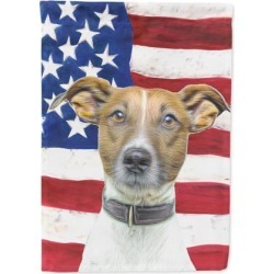 USA American Flag with Jack Russell Terrier Flag Garden Size KJ1155GF