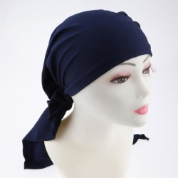 Pretied Silky Beanie Hat Scarf Chemo Cap Turban Head Wrap Night Bonnet Navy Blue