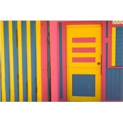 Colorful Doorway, New Providence Island, Bahamas, Caribbean Poster Print by Walter Bibikow (34 x 23)
