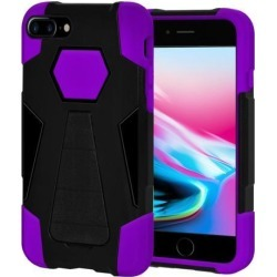 Amzer Dual Layer Hybrid KickStand Case - Black/ Purple for iPhone 8 Plus