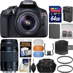 Canon EOS Rebel T6 Wi-Fi Digital SLR Camera & EF-S 18-55mm IS II with 75-300mm III Lens + 64GB Card + Case + Battery & Charger + Filters + Kit